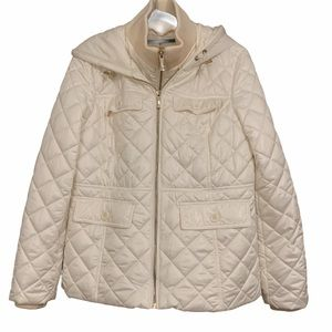 Kate Spade double Zipper cream quilted puffer coat